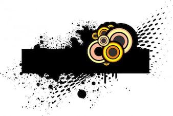 Bandera rectangular negro con círculos de color