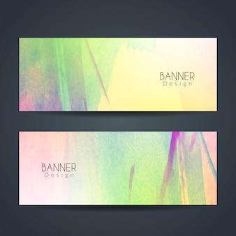 Banderas coloridas de acuarela