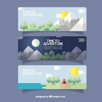 Banderas de aventura de paisajes