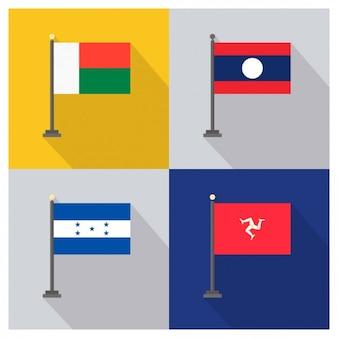 Banderas de Bielorusia Laos Honduras e Isla de Man