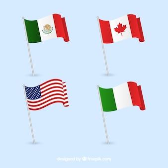 Banderas de Canadá, México, Italia y Estados Unidos