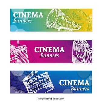 Banderas de colores con elementos de cine dibujados a mano