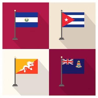 Banderas de El Salvador Cuba Bután e Islas Caimán