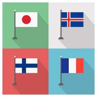 Banderas de Japón Islandia Finlandia y Francia