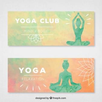 banderas de la acuarela de yoga con las siluetas de pose