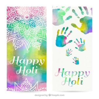 Banderas de la acuarela Holi con los ornamentos y las huellas de las manos