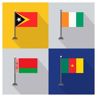 Banderas de Timor Oriental Costa de Marfil Bielorrusia y Camerñun