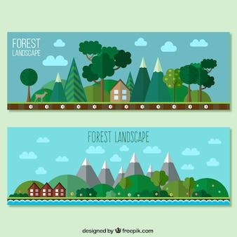 Banderas del paisaje forestal en diseño plano