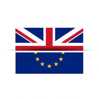 Banderas del reino unido y la unión europea separándose