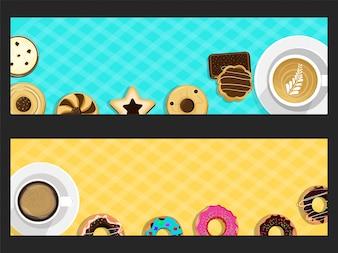 Banderas del sitio web con donas y café.