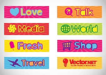 banderas vectores de texto