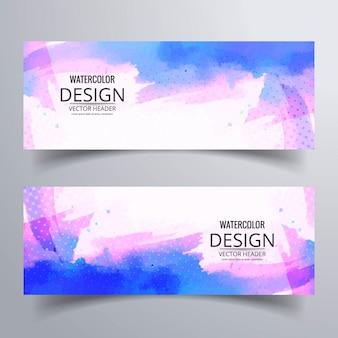 Banner abstracto con acuarelas