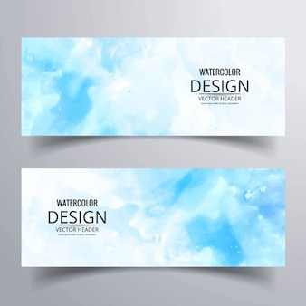 Banner azul con acuarelas
