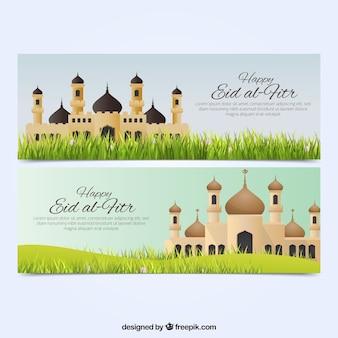 Banner bonito de eid al fitr