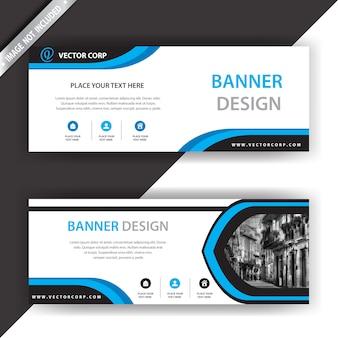 Banner con diseño azul y blanco