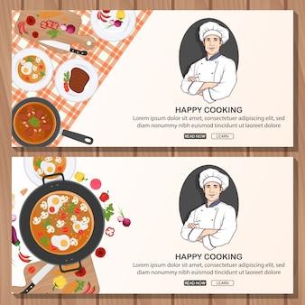 Banner con diseño de chef