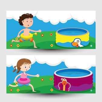 Banner con niños jugando en la piscina
