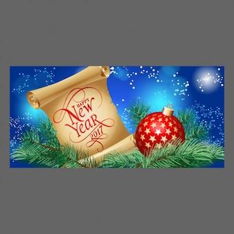 Banner de año nuevo con pergamino y bola de navidad