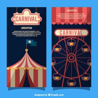 Banner de carnaval plano con carpa y noria