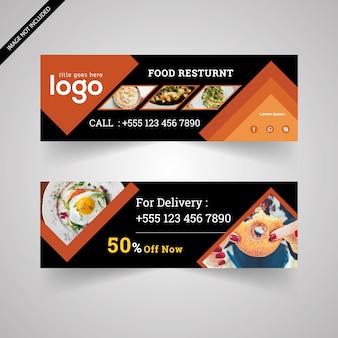 Banner de comida con diseño negro y naranja