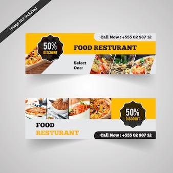 Banner de descuento de comida de restaurante