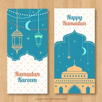 Banner de feliz ramadán con lámparas arábigas