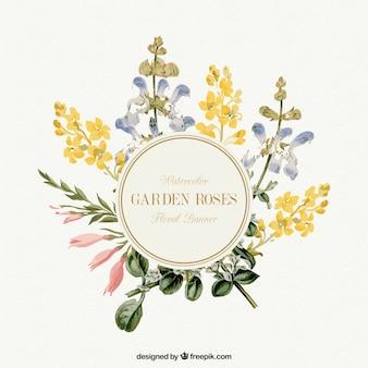 Banner de flores de jardín en acuarela