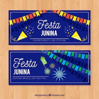 Banner de la fiesta junina con diseño azul