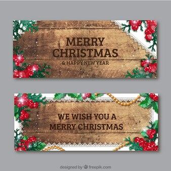 Banner de navidad vintage de madera