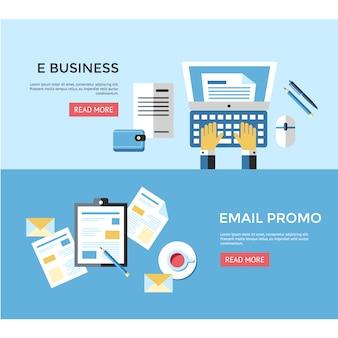 Banner de negocios y correo
