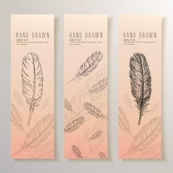 Banner de plumas dibujados a mano