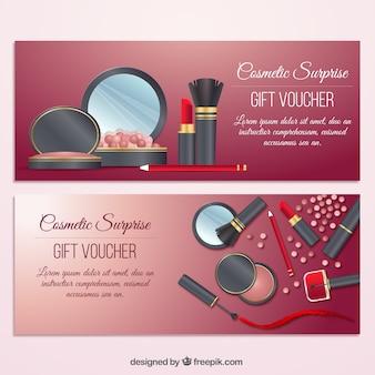 Banner de regalo de elementos de belleza