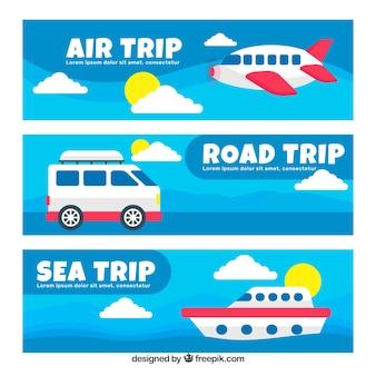 Banner de transportes para viajar