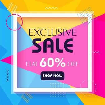 Banner de venta exclusiva en fondo colorido.