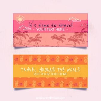 Banner de viaje rosa y naranja