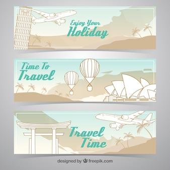 Banner de viajes dibujado a mano