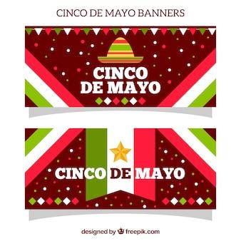 Banner del cinco de mayo con bandera mexicana