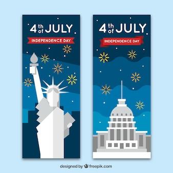 Banner del cuatro de julio con monumentos