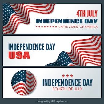 Banner del día de la independencia de estados unidos con bandera
