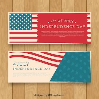 Banner del día de la independencia de estados unidos con diseño elegante