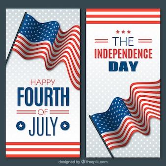 Banner del día de la independencia de estados unidos con diseño vertical