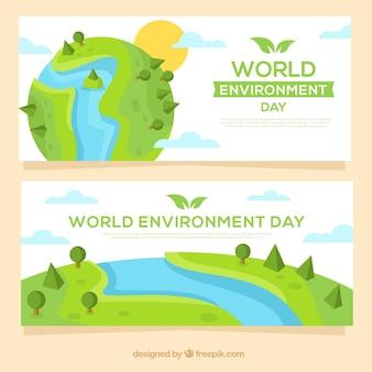 Banner del día mundial del medioambiente con diseño de la tierra