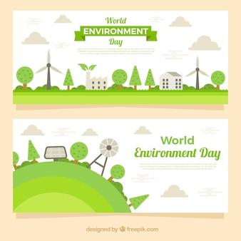 Banner del día mundial del medioambiente con elementos eólicos