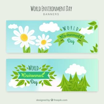 Banner del día mundial del medioambiente con margaritas