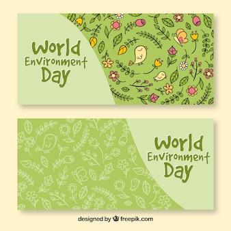 Banner del día mundial del medioambiente con patrón de flores