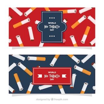 Banner del día mundial sin tabaco con fondo azul y rojo
