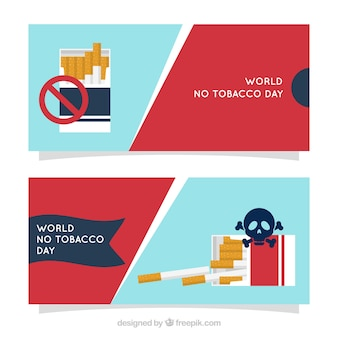 Banner del día mundial sin tabaco con signo de prohibición y calavera