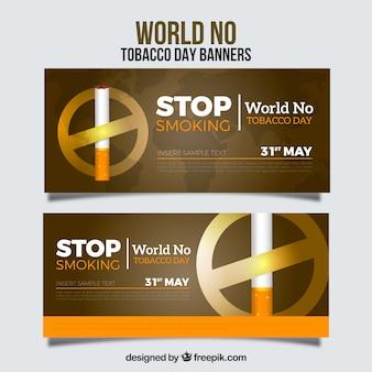 Banner del día mundial sin tabaco con signo de prohibición