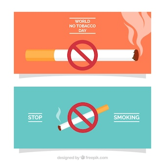Banner del día mundial sin tabaco con signo de prohición