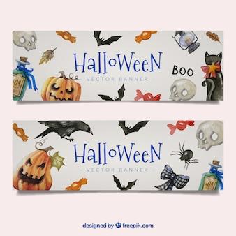 Banner en acuarela de elementos de halloween